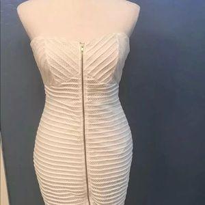 White Strapless Mesh Midi Zip Front Dress
